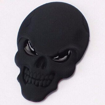 3D Skull Zinc Alloy Metal Car Motorcycle Sticker Skull Emblem BadgeCar Styling Stickers Accessories Car Decoration (Black)