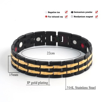 4 In 1 Bio Magnetic Bracelet Black Color IPG Gold Plated PowerSports Bracelets For Men Energy Bangles Hand Chain 10114 - intl - 2