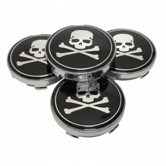 4pcs 56mm Car Styling Accessories Emblem Badge Sticker Wheel Hub Caps Centre Cover Skull for All Cars - intl