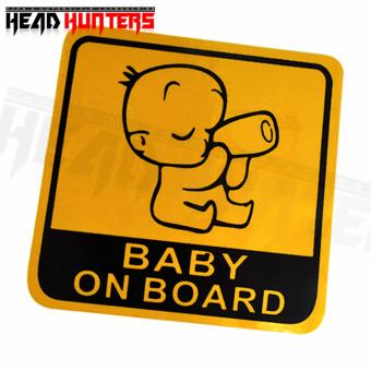 4x BABY ON BOARD Caution Car Sticker (Yellow) - 2