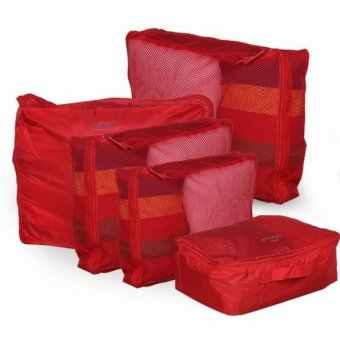 5-in-1 Waterproof Packing Cubes Mesh Travel Pouch (Red)