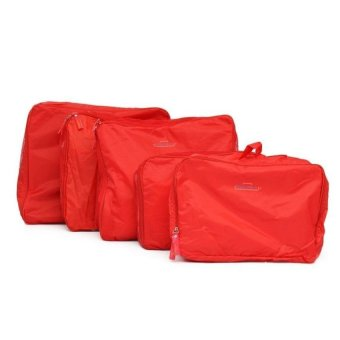 5-in-1 Waterproof Packing Cubes Mesh Travel Pouch (Red) - picture 2