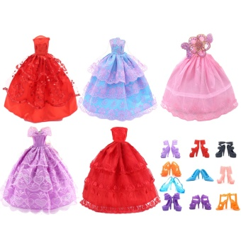 5 PCS Fairy Girl Dolls Toys Wedding Party Lace Dresses Gown Outfits Doll + 10 Pair Shoes Set Accessories for Barbie Toys Children Girls Birthday Gift Random Style - intl