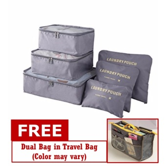 6 in 1 Travel Luggage Packing Bags (Gray) with Free Dual Bag