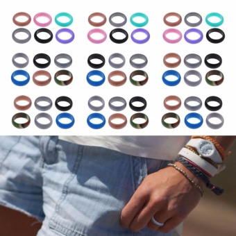 6 Pcs/Set Rubber Silicone Wedding Ring Band Sport Outdoor Flexible Men Women Gift - intl - 3