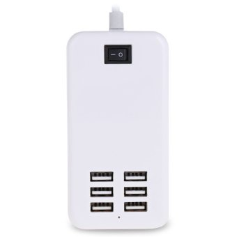 6 USB Ports Universal Wall Charger Inserting Charging Cable EU PLUG (White) - 2