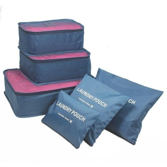 6Pcs Waterproof Travel Storage Bags Clothes Packing Cube LuggageOrganizer Pouch (blueberry) - intl