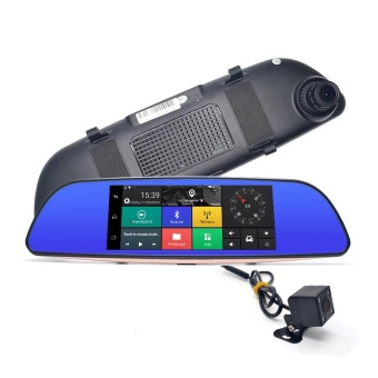 7 inch Car Camera 4G WCDMA Android DVR Bluetooth FM WIFI Dual Lens rearview mirror Camcorder Dash cam dvrs - intl