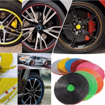 8M Car Wheel Rim Edge Protector Tire Rubber Guard Sticker LineStrip(Yellow) - 4