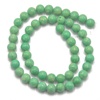 8mm Light Green Riverstone Fossil Round Loose Beads Strand 15.5 inch