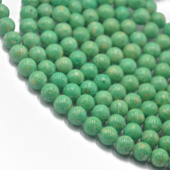 8mm Light Green Riverstone Fossil Round Loose Beads Strand 15.5 inch - picture 2