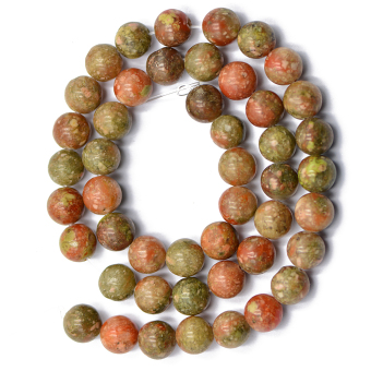 8mm Natural Autumn Jasper Round Loose Beads 15inch - picture 2
