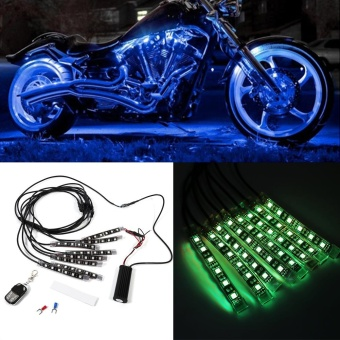 8pcs Car Motorcycle RGB LED Remote Control Glow Light Kit MultiColor - intl
