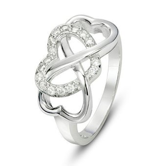 925 Sterling Silver Cubic Zirconia Infinity and Heart Ring (Intl)