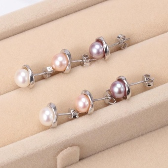 925 Sterling silver7-8mm Natural Freshwater Cultured Flower Shaped Pearl Earring - intl - 2