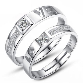 Adjustable Couple Rings 925 Silver Romentic Lover Ring Jewelry E027 - intl