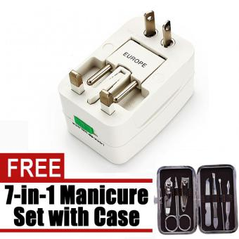 All in One Universal International Plug Adapter World TravelAdaptor (white) with free Microbishi 7-in-1 Manicure Set with Casebest quality (DarkBrown)