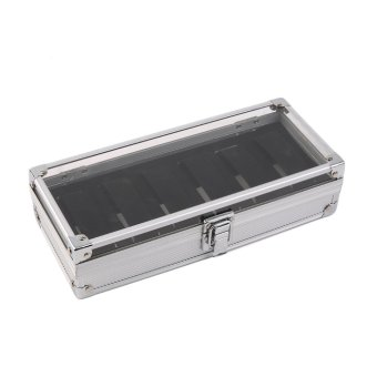 Allwin 6 Grid Slots Jewelry Watches Display Storage Box Case Aluminium Watch Box Silver