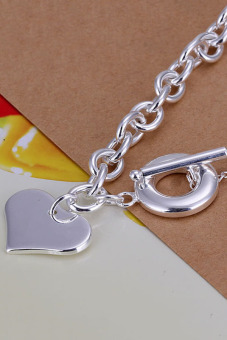 Amango 925 Silver Plated Heart Bracelet TO Bulck Bangle Silver - picture 2
