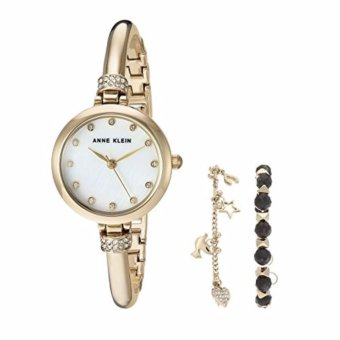 Anne Klein Women's Swarovski Crystal Accented Gold-Tone Bangle Watch and Bracelet Set AK-2840LBDT Price Philippines