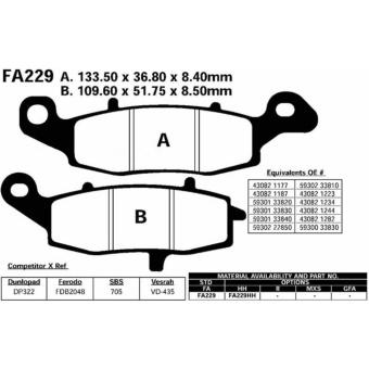 Areyourshop Brake Pads FA229 For KAWASAKI ER-6F ER-6N KLE KLR 650VN 800 900 1500 1600 1700 - intl - 2