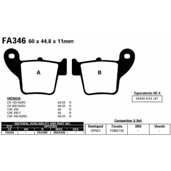 Areyourshop Brake Pads FA346 For HONDA CR 125 250 CRF 230 250 450XR 250 400 CRE CRM CRM F - intl - 2