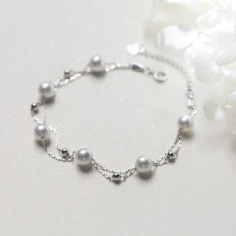 A'ROCH Korean-style female double layer shell beads Pearl bracelet silver bracelet