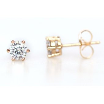 Athena & Co 22k Gold Plated Diamond Stud Earrings - 2