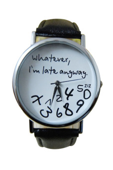 Aukey Whatever I'm Late Anyway Leather Watch (Black White)