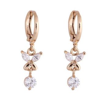 Aukey Women Elegant 18k Gold Filled Zircon Crystal Dangle Hoop Earrings