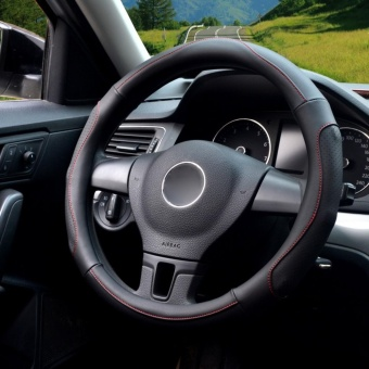 Auto Steering Wheel Covers,Diameter 15 inch,PU Leather,for Full Seasons,black-Size M-intl - 2