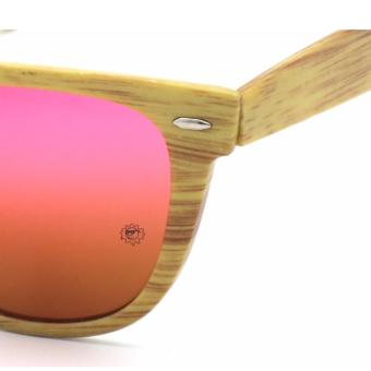 Bamboo Wayfarer Inspired_021 Sunglasses made with High Density Polyethylene Brown_Red - 5