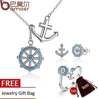 BAMOER 925 Sterling Silver Blue Anchor & Rudder Pendants &Necklaces Jewelry Sets Sterling Silver Jewelry ZHS035 - intl