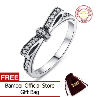 BAMOER Authentic 100% 925 Sterling Silver Sparkling Bow KnotStackable Ring Micro Pave CZ Wedding Jewelry 6 7 8 9 Size PA7104