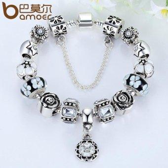 BAMOER Original 925 Silver Black Round Charm Bracelet with SafetyChain for Women Luxury Jewelry PA1854 - 2