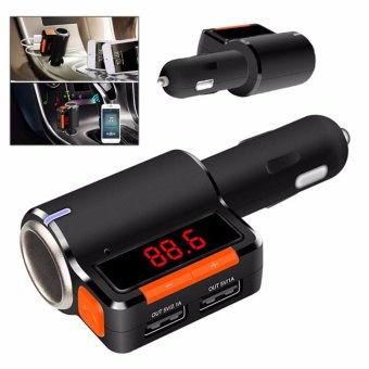 BC09 Wireless Bluetooth Car Charger Hands-free MP3 PlayerFMTransmitter Dual USB (Black/Orange)