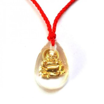 Be Lucky Charms Feng Shui Quartz Laughing Buddha Thread Necklace