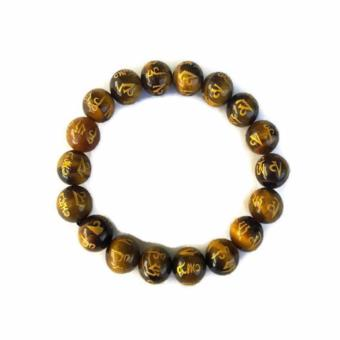 Be Lucky Charms Feng Shui Tiger Eye all Protection Mantra Stone Bracelet - 2