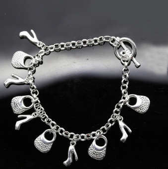 Beautiful Fashion 925 Sterling Silver Plated Charms Shoe Women Bracelet H108 - picture 3