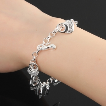 Beautiful Fashion 925 Sterling Silver Plated Charms Shoe Women Bracelet H108 - picture 2