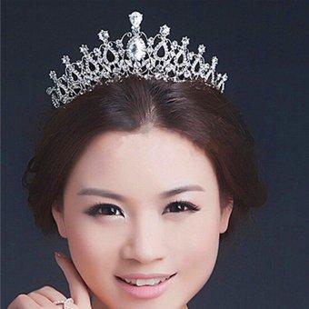 Beauty Pageant Queen Rhinestone Bridal Wedding Prom Tiara Comb Crown Fashion USA Silver - intl - 5