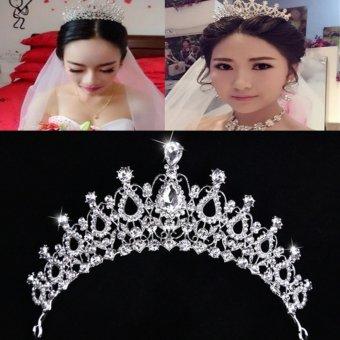 Beauty Pageant Queen Rhinestone Bridal Wedding Prom Tiara Comb Crown Fashion USA Silver - intl - 3