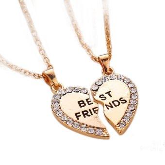Best friend gift heart gold silver rhinestone 2 pendants necklace best friend gift heart gold silver rhinestone 2 pendants necklace bff friendship golden aloadofball Images