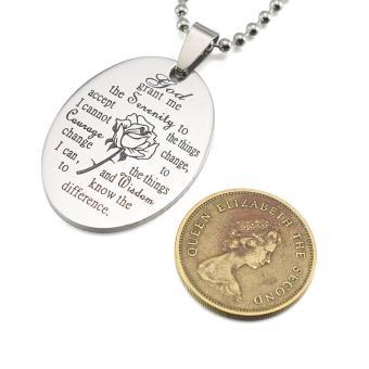 Black Enamel Silver Tone Stainless Steel English Serenity PrayerDog Tag Pendant Necklace 60 CM - intl - 4