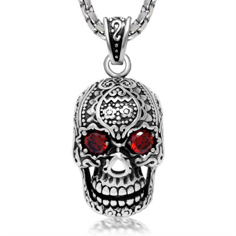 Black Enamel Silver Tone Stainless Steel Sugar Skull Red CZ InlaidPendant Necklace 60CM SS Chain - Intl
