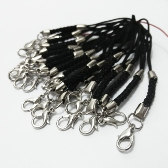 Black Lariat Lanyard mobile straps lobster clasp jump rings bag Charm accessorie U cord curto Connector Fastener movel fecho - intl - 2