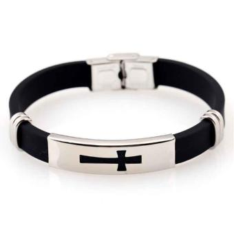 Black New Bracelet Jewelry Titanium Steel Cross Braid Bracelet forMen Weaving Belt - intl