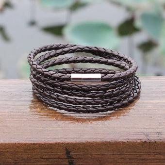 Black New Fashion 5 layer Leather Bracelets charm Bangle Handmade Round Rope Turn Buckle Bracelet For Women Men Low Price - intl - 5