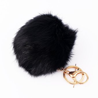 Black Rabbit Fur Ball PomPom Cell Phone Car Keychain PendantHandbag Charm Key Ring