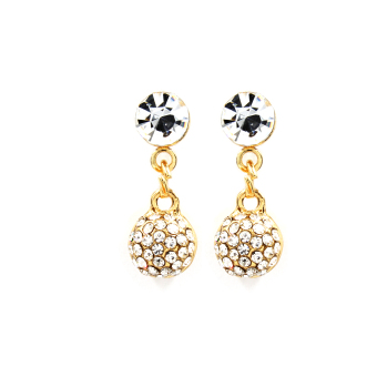 Bling Bling Round Earrings and Necklace Jewelry Set (Gold) - 2